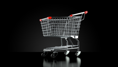 Shopping cart on black background. 3d illustration