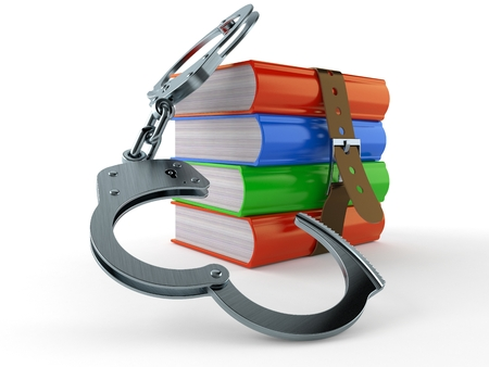 Books with handcuffs isolated on white background. 3d illustration
