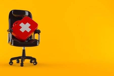 First aid kit on business chair isolated on orange background. 3d illustration Stock Photo