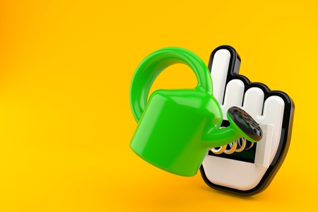Watering can with web cursor isolated on orange background. 3d illustration