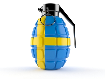 Hand grenade with swedish flag isolated on white background. 3d illustration