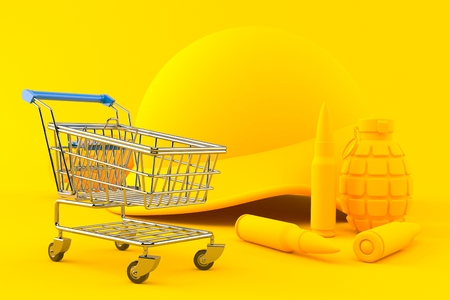 Military background with shopping cart in orange color. 3d illustration