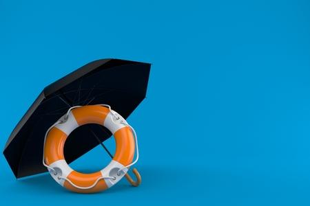 Umbrella with life buoy isolated on blue background. 3d illustration Stock Photo