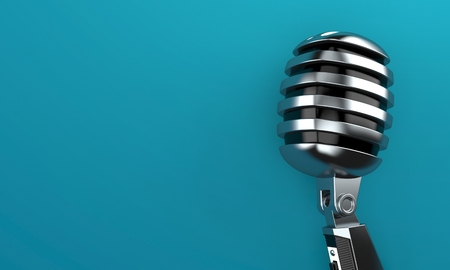 Microphone on blue background. 3d illustration Stock Photo