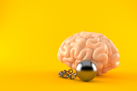 Brain with prison ball isolated on orange background. 3d illustration Stock Photo
