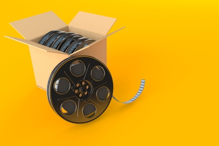 Box with film reels isolated on orange background. 3d illustration. Movies concept Reklamní fotografie