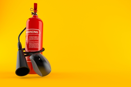 Fire extinguisher with computer mouse isolated on orange background. 3d illustration