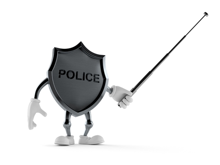 Police badge character with pointer stick isolated on white background. 3d illustration