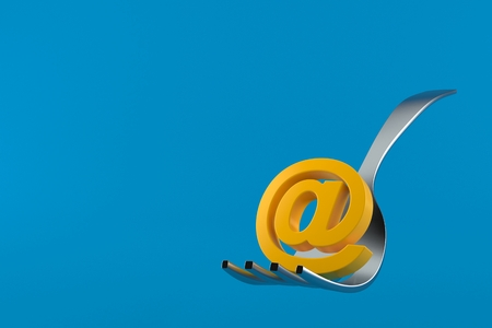 Fork with e-mail symbol isolated on blue background. 3d illustration