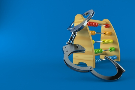 Wooden abacus with handcuffs isolated on blue background. 3d illustration Stock Photo
