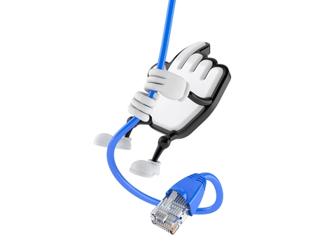 Cursor character swinging on network cable isolated on white background. 3d illustration Stock Photo