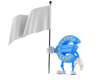 Euro currency character holding white flag isolated on white background. 3d illustration