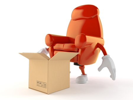 Armchair character with open cardboard box isolated on white background. 3d illustration