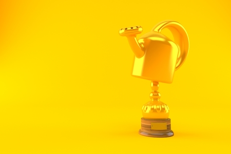 Watering can trophy isolated on orange background. 3d illustration