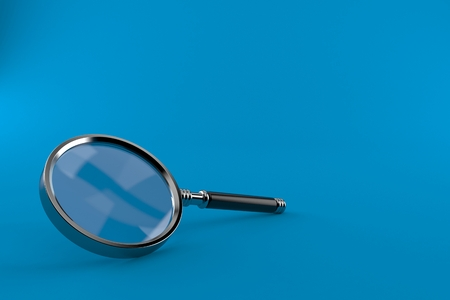 Magnifying glass isolated on blue background. 3d illustration