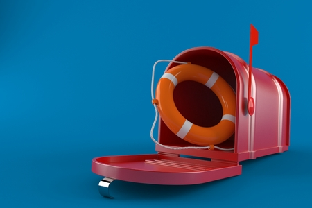 Mailbox with life buoy isolated on blue background. 3d illustration