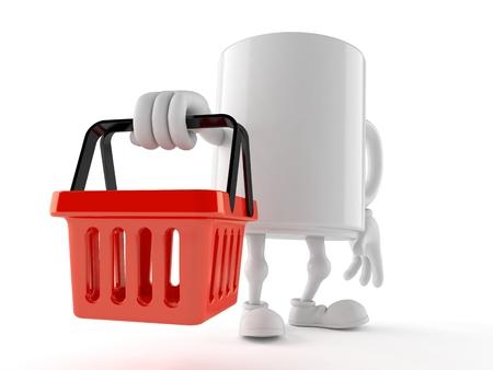 Mug character holding shopping basket isolated on white background. 3d illustration