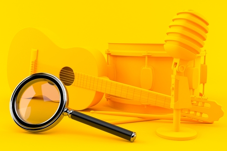 Music background with magnifying glass in orange color. 3d illustration Stock Photo