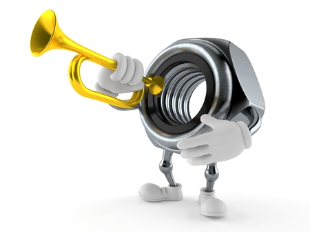 Nut character playing the trumpet isolated on white background Stock Photo