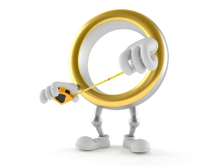 Wedding ring character holding measuring tape isolated on white background. 3d illustration