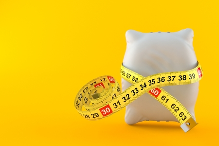 Pillow with centimeter isolated on orange background. 3d illustration Stock Photo