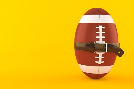 Rugby ball with tight belt isolated on orange background. 3d illustration