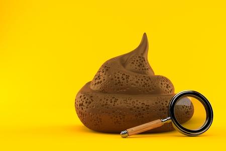Dung poo with magnifying glass isolated on orange background. 3d illustration
