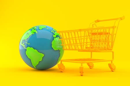 Shopping background with world globe in orange color. 3d illustration