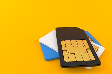 SIM cards isolated on orange background. 3d illustration Stock Photo