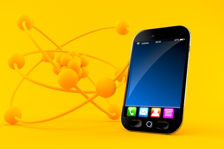 Science background with smart phone in orange color. 3d illustration