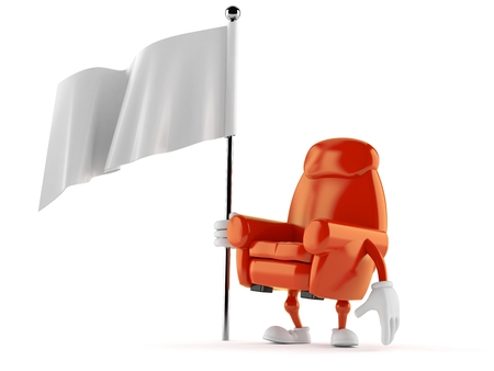 Armchair character holding blank flag isolated on white background. 3d illustration