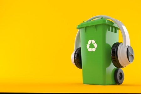 Dustbin with headphones isolated on orange background. 3d illustration Stock Photo