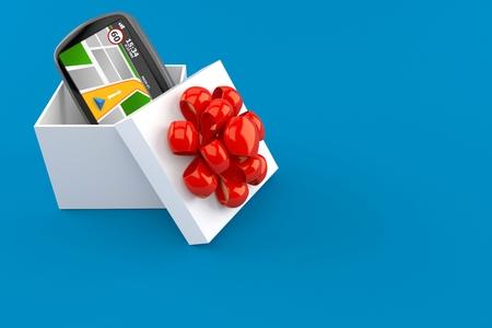 GPS navigation inside gift isolated on blue background. 3d illustration