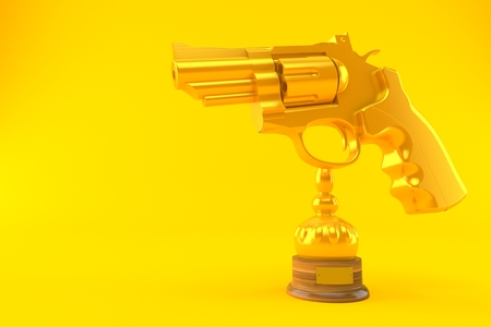 Gun trophy isolated on orange background. 3d illustration