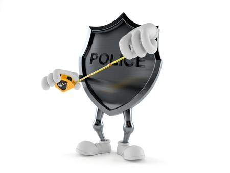 Police badge character holding measuring tape isolated on white background. 3d illustration Stock fotó