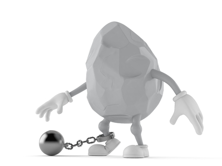 Rock character with prison ball isolated on white background. 3d illustration