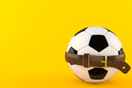 Soccer ball with tight belt isolated on orange background. 3d illustration 写真素材