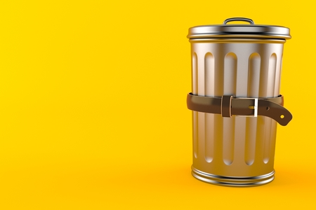Trash can with tight belt isolated on orange background. 3d illustration