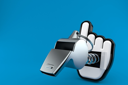 Whistle with cursor isolated on blue background. 3d illustration