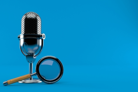 Radio microphone with magnifying glass isolated on blue background. 3d illustration