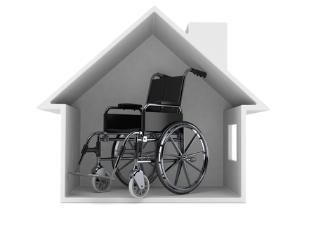 Wheelchair inside house cross section isolated on white background. 3d illustration