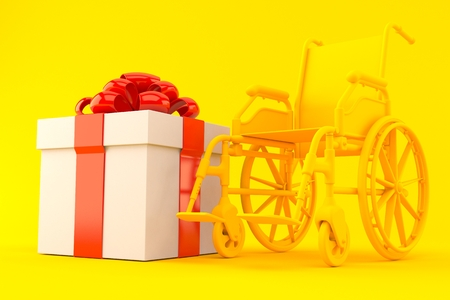 Wheelchair background with gift in orange color. 3d illustration