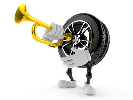 Car wheel character playing the trumpet isolated on white background. 3d illustration