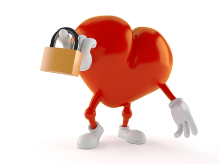 Heart character holding padlock isolated on white background. 3d illustration