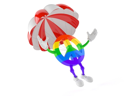 Peace symbol character with parachute isolated on white background. 3d illustration