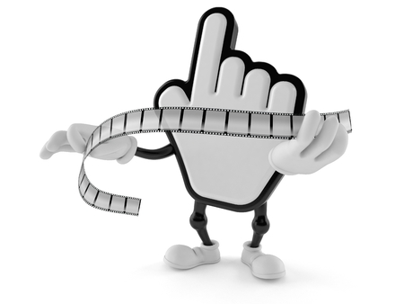 Cursor character holding film strip isolated on white background. 3d illustration Stock Photo