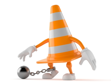 Traffic cone character with prison ball isolated on white background. 3d illustration