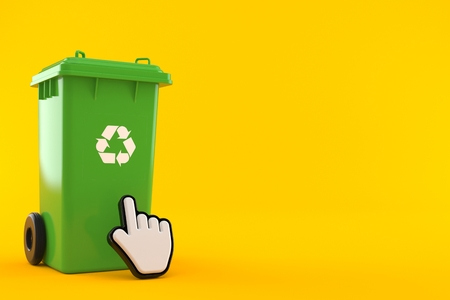 Dustbin with web cursor isolated on orange background. 3d illustration