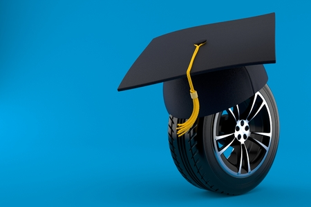Car tire with mortarboard isolated on blue background. 3d illustration 写真素材