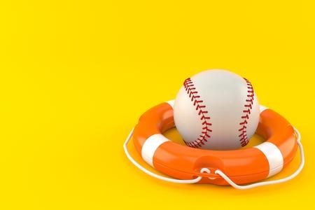 Baseball ball with life buoy isolated on orange background. 3d illustration Stock Photo